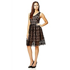 Quiz - Black crochet v neck dress