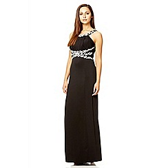 Quiz - Black embroidered slinky maxi dress