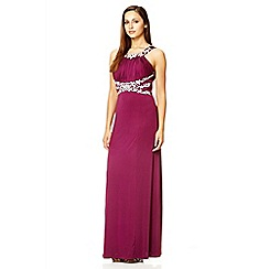 Quiz - Plum embroidered slinky maxi dress
