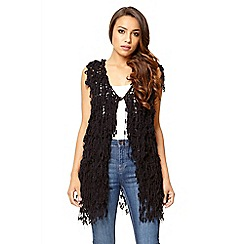 Quiz - Black loop knit long waistcoat