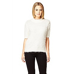 Quiz - Cream fluffy turtle neck short jumper