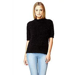 Quiz - Black fluffy turtle neck short jumper