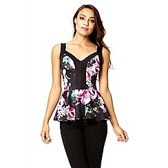 Quiz - Black and purple flower print peplum top