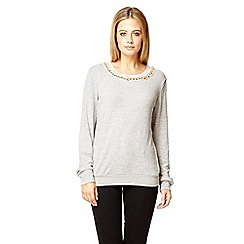 Quiz - Grey long sleeve pearl neck jumper