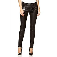 Quiz - Black wet look zip pocket jeans