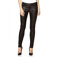 Quiz - Black wet look zip pocket jeans