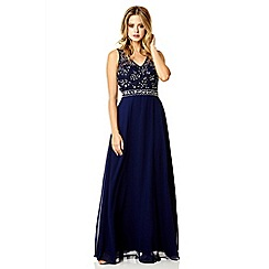 Quiz - Navy chiffon diamante maxi dress