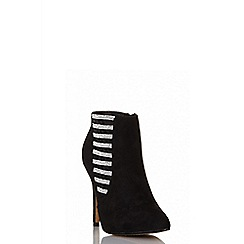 Quiz - Black diamante pointed shoe boots