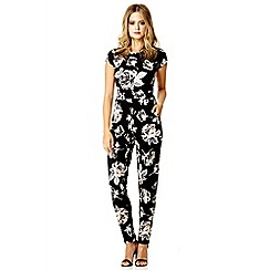 Quiz - Black crepe flower print jumpsuit