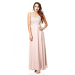 Quiz - Mocha chiffon diamante maxi dress