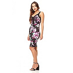 Quiz - Black and purple flower print bodycon dress