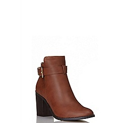 Quiz - Tan pu buckle ankle boots