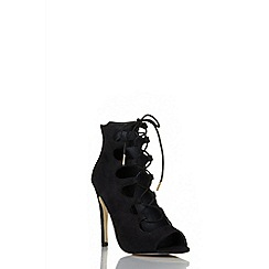 Quiz - Black faux suede lace up shoe boot
