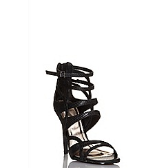 Quiz - Black lizard cut out strap sandals