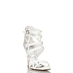 Quiz - White lizard cut out strap sandals