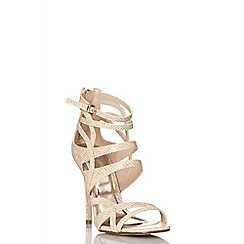 Quiz - Nude lizard cut out strap sandals