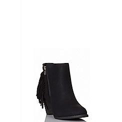 Quiz - Black fringe ankle boots