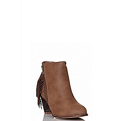 Quiz - Brown fringe ankle boots