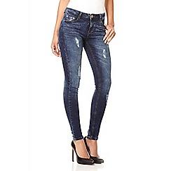 Quiz - Dark blue distressed high waisted jeans