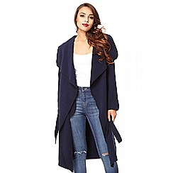 Quiz - Navy felt long waterfall jacket - one size