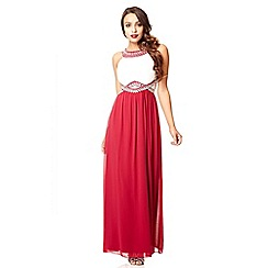 Quiz - Cream and berry chiffon embellished maxi dress