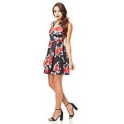Quiz - Black and red flower print pleat dress