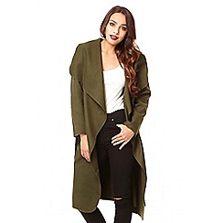Quiz - Khaki felt long waterfall jacket  - one size