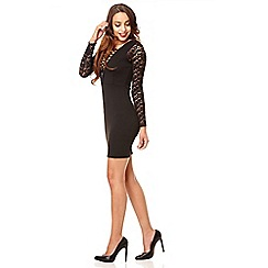 Quiz - Black lace up bodycon dress