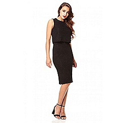 Quiz - Black glitter layer midi dress
