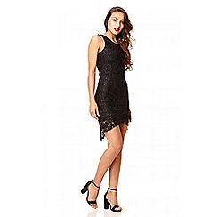 Quiz - Black dip hem lace dress