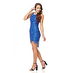 Quiz - Royal blue dip hem lace dress