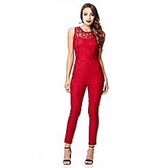 Quiz - Berry lace skinny leg jumpsuit