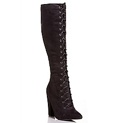 Quiz - Black faux suede lace up boots