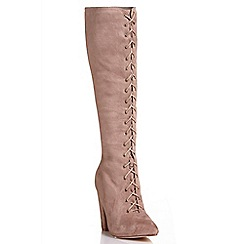 Quiz - Mocha faux suede lace up boots