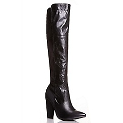 Quiz - Black pu elastic high leg boots