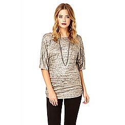 Quiz - Stone foil effect batwing sleeve top