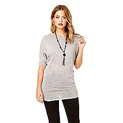 Quiz - Grey lace back batwing sleeve top