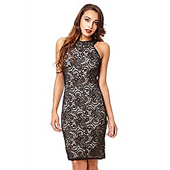 Quiz - Black lace glitter round neck dress