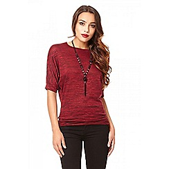 Quiz - Berry lace back batwing sleeve top