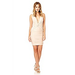 Quiz - Champagne knot front slinky disco dress