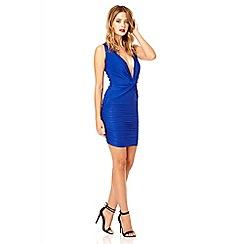 Quiz - Royal blue knot front slinky disco dress