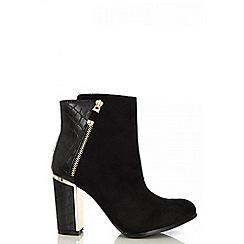Quiz - Black snake heel ankle boots
