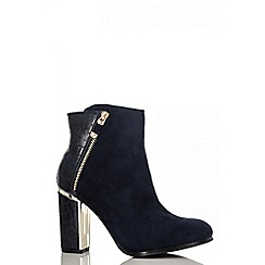 Quiz - Navy snake heel ankle boots
