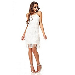 Quiz - White fringe flapper dress