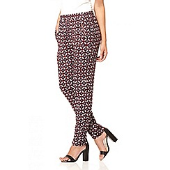 Quiz - Wine retro print casual trousers