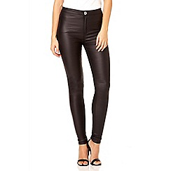Quiz - Black high waist wet look jeans