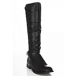 Quiz - Black calf length gold trim boots