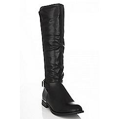 Quiz - Black calf length gold trim boots