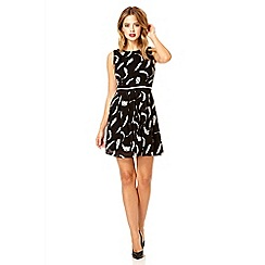 Quiz - Black chiffon feather print dress
