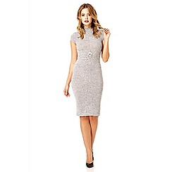 Quiz - Grey turtle neck necklace bodycon dress